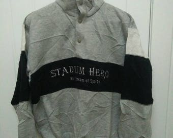 Rare Vintage STADIUM HERO Main Stream of Sports Spell Out Embroidered Sweatshirt Size L Large