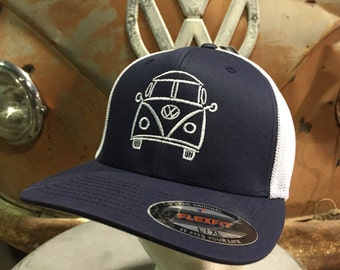 VW Bus Splitwindow Flex Fit Hat.  Structured front with embroidered VW Bus design.  Mesh Back Flex Fit.  One size fits most.