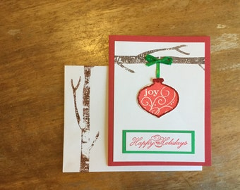 Red Ornament on Branch Happy Holidays Card