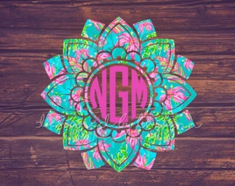 Lilly Pulitzer Inspired Mandala #5, Lilly Pulitzer Inspires Monogram Decal, Mandala Decal, Yeti decal, Car decal, birthday gift