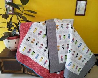 Superhero quilt, batman quilt, Superman quilt, baby quilt, crib quilt, superhero bedding, Quilt sale, Handmade Quilt, hulk quilt, baby showe