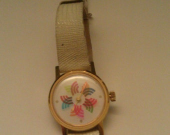 Vintage Le Jour Incabloc Mechanical Wind Watch Rotating RAINBOW Seconds Keeps Time Original Band Needs Replacing