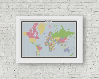 The World Map Travel Multi Color Counted Cross Stitch Pattern - PDF Digital Download