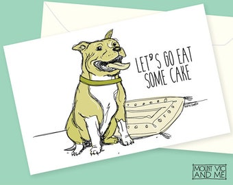 "Staffordshire Bull Terrier card Lets Go Eat Some Cake / 5 x 7"" birthday card / A4 digital download bull terrier happy celebration dog Staffy"
