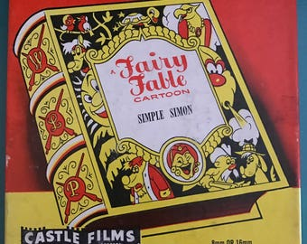 Fairy Fable Vintage Antique Simple Simon Animation Movie 8mm 16mm cartoon film reel Castle Films projector