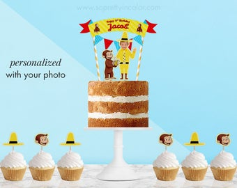 Curious George Cake Topper/Personalized Topper with your child's photo