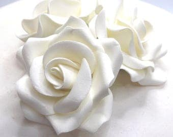 1,3,6 or 12 Large Ivory 3D Sugar Roses wedding cake decoration 58mm NONWIRED
