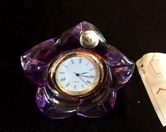 CalliopesCollections vintage German crystal amythist clock