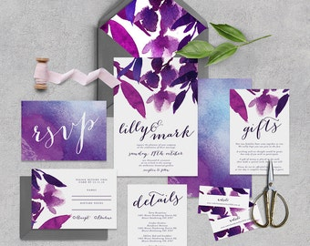 "Printable Wedding Invitation Suite ""Mikah"" - Printable DIY Invite, Affordable Wedding Invitation"