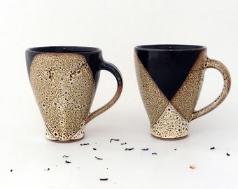 Set of 2 mugs, speckled brown glaze, stoneware