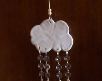 Handcrafted Hanging Decoration of a Rain Cloud with Falling Raindrops