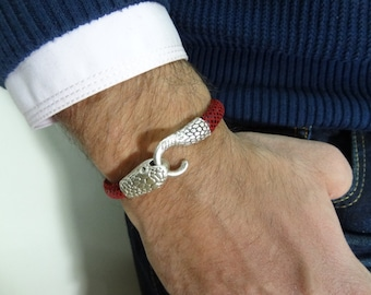 EXPRESS SHIPPING,Snake Skin Bracelet,Burgundy High Quality Leather Bracelet,Men's Jewelry,Snake Bracelet,Gifts for Boyfriend,Father's Day