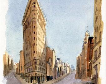 5x7 Original Watercolor Painting - Flatiron Building