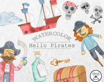 Drawing Watercolor 16 Clipart Little Pirates Treasure chest, Ship ,Swords and others