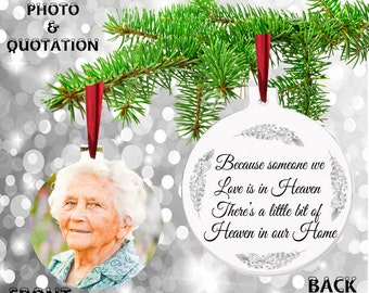 Personalised Remembrance PHOTO Metal Hanging Bereavement In Memory Christmas in Heaven Tree Decoration