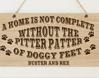 Personalised Pitter Patter Doggy Feet Dog Owner Pet Christmas Plaque Home Gift Mum Sister Friend Dog Lover Birthday