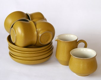 4 x Denby Ode teacups and saucers, milk jug and sugar bowl 1960's