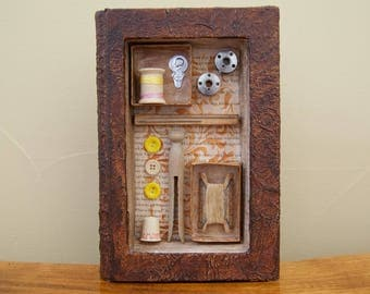 Assemblage Art - Altered Book Art - Vintage Sewing