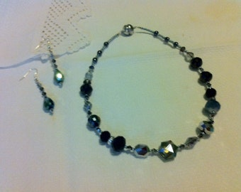 Black sparkle necklace and earrings set