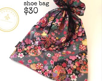 Shoe bag made with beautiful Japanese material. Fully lined.