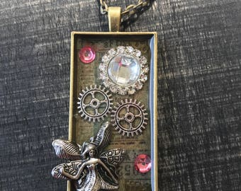 fairy necklace, gear necklace, gear jewelry, steampunk fairy, steampunk necklace, fairy pendant