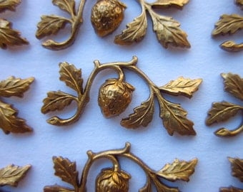 12 Vintage Brass Stampings, Strawberry and Leaf Design, 24mm x 12mm