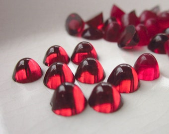 48 Vintage Cabochons, Ruby Red Glass Dome, 7mm, Flat Back