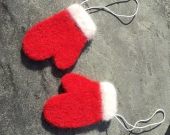 Needle Felted Mitten Ornaments, Mitten Ornaments, Christmas Mitten Ornaments, Santa Mitten Ornaments, Christmas Ornaments