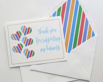 Rodan and Fields Thank You Foldover Card - Business Support - Striped Hearts 3