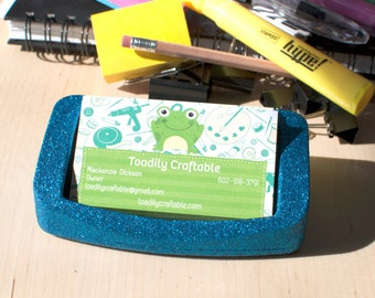 Blue Business Card Holder, Office Supplies, Glitter Office Supplies, Decorative Business Card Holder, Blue Office Supplies, Blue Glitter
