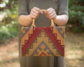 Vintage Aztec Handbag // Bamboo Top Handle Bag // 1970s Purse