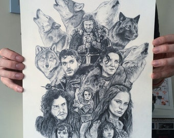 The Starks - Game of Thrones - Handsigned A3 Print on cream paper