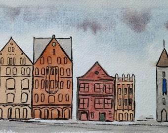 Bergen Three, Ink and Watercolour Landscape Painting, Bergen, Norway, Art