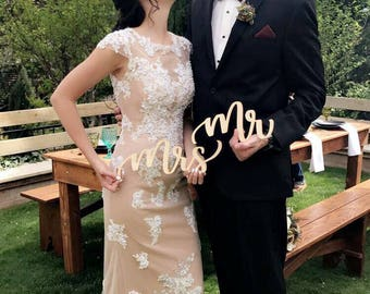 """Mr. And Mrs. Laser Cut Sign. Made with Raw Birch Wood. 1/8"""" Thickness. 3"""" Height and 10"""" Length."""