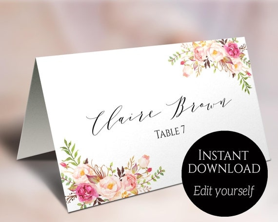 Place card template wedding place cards editable place place card template wedding place cards editable place cards escort cards reserved seating cards folded card tent card food cards c1 solutioingenieria Gallery