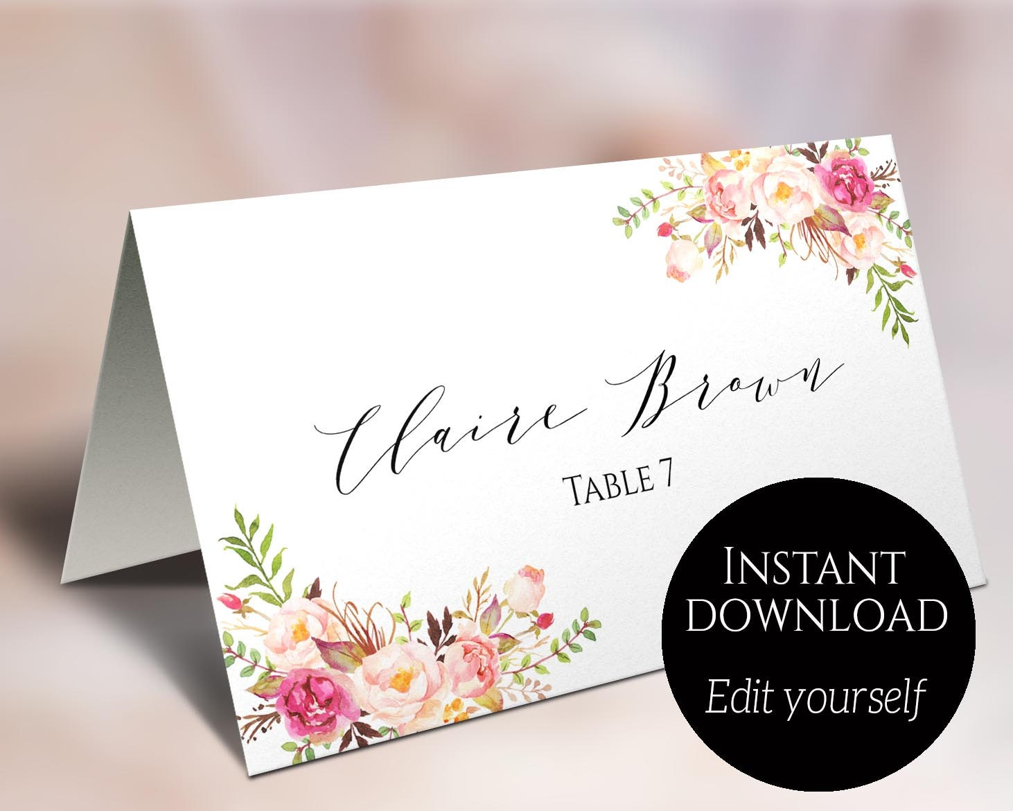 place card template wedding place cards editable place. Black Bedroom Furniture Sets. Home Design Ideas
