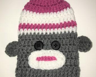 New! Pink Sock Monkey = Cast Sock = Ready to ship.