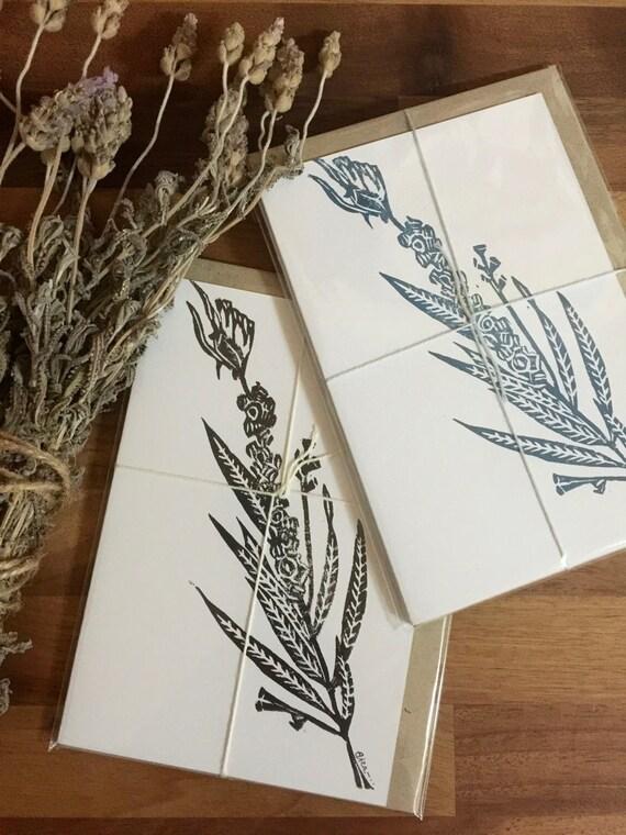 Handmade Paw Plant Linoprinted Eco Card