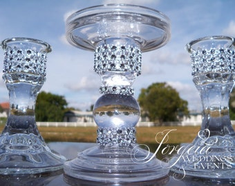 Bling Unity Candle Holders, Holders for Wedding Candles, Candle Holder, Holder, Wedding Candle,