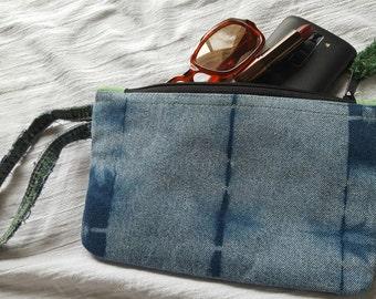 Indigo Dyed Clutch Handbag/Wristlet ~ Shibori Reclaimed Denim & Hemp OOAK