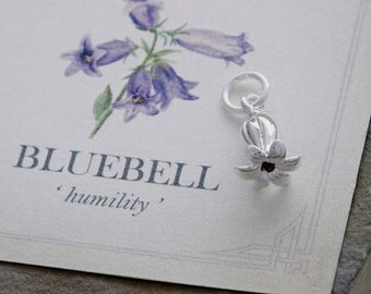 Solid silver Bluebell flower bracelet charm or pendant, handmade in sterling silver with high detail and meaning card