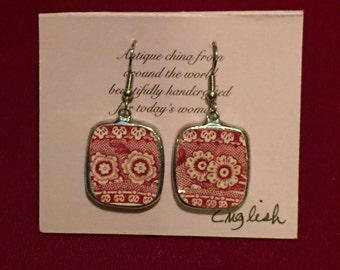 Broken China Earrings   --  #20,028