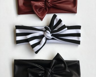 Knot headband, baby girl headband, faux leather, stripes