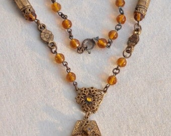 1930's Czech  Amber Glass And Brass Necklace