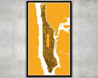 Manhattan Map, New York City Grid Map Print