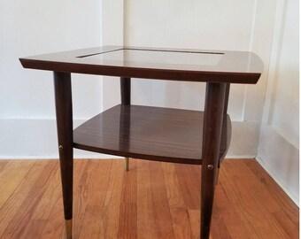 Vintage Side End Table Mid Century Modern Nightstand Livingroom Unique Glass
