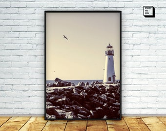 lighthouse print, lighthouse photography, lighthouse printable, lighthouse wall art, lighthouse wall print, seaside print, nautical decor