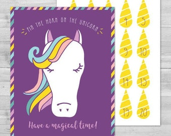 Pin the Horn on the Unicorn Game, Unicorn Party Supplies, Rainbow Unicorn Party Supplies, Rainbow Party Supplies, Rainbow Unicorn Party