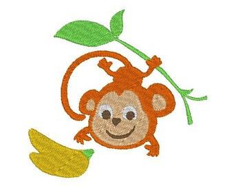 "2 sizes monkey with banana - machine embroidery design 4x4"" & 2.5x2.5"""