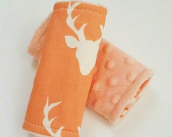 Deer Car Seat Strap Covers, Coral Car Seat Covers, Deer Nursery, Carseat Strap Covers, Coral Strap Covers, Car Seat Strap Covers Girl